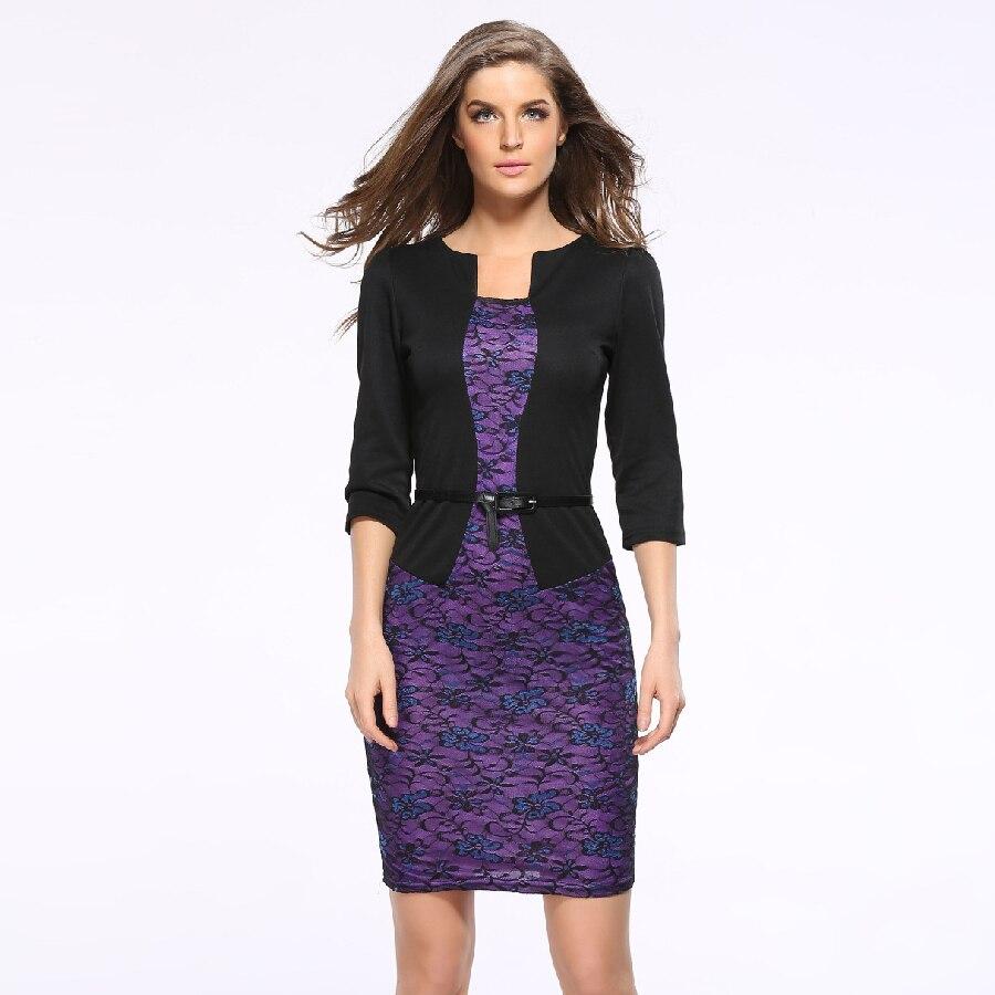Business wear women fashion slim fit plaid dresses fake two piece