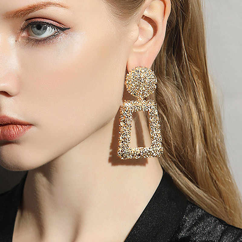 USTAR Big Drop Earrings for Women Geometric Statement Earrings female 2018 Fashion Modern Jewelry hanging kolczyki oorbellen