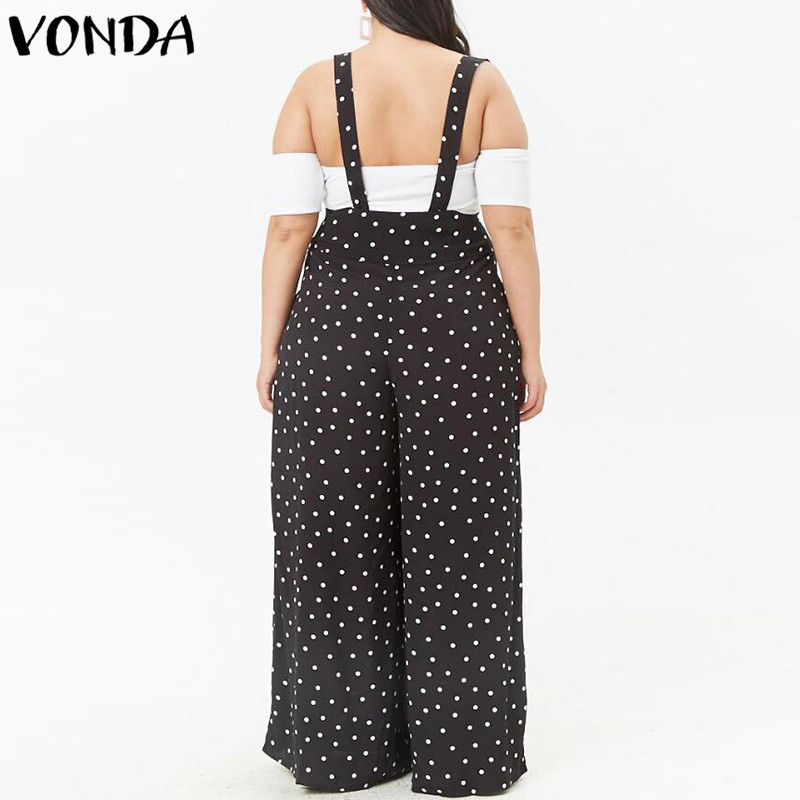 2018 Summer Dot Print Rompers Womens Jumpsuits Sexy Vintage Bodysuit Casual Loose Trousers VONDA Playsuits Plus Size Overalls 2