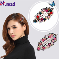 1Piece Silver Plated Leaves Shape Top Hair Jewelry Full Multicolor Rhinestone Hair Clip Vintage Wedding Hair Accessories Bijoux