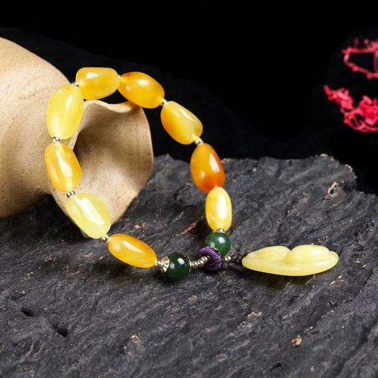 Minerai brut naturel cire d'abeille bracelet unique cercle vert jasper 14 k or perles accessoires de mode ambre bijoux
