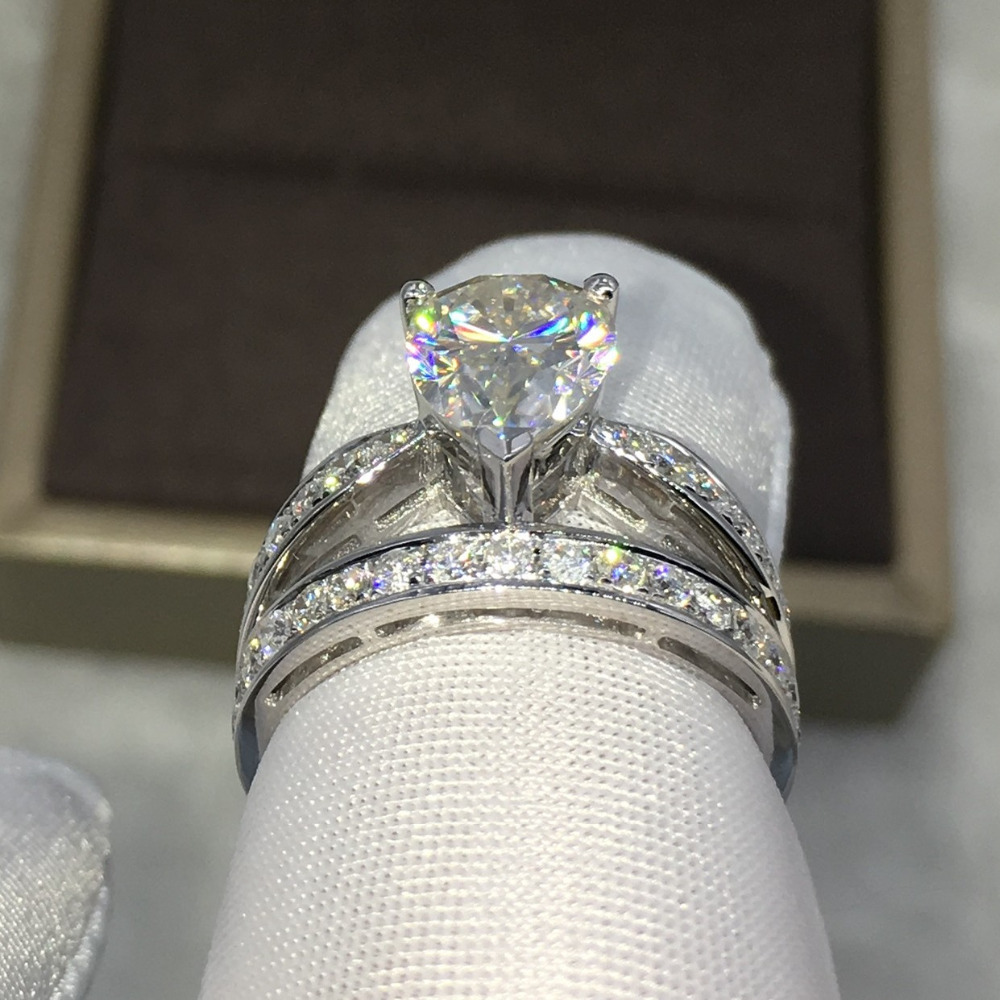 bridal wedding engagement rings cz wedding band r Sterling Silver Round CZ Halo Art Deco Ring 1 94 CTW