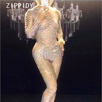 Sparkly Rhinestones Pearls Sexy Jumpsuit Nightclub DS Performance Party Celebrate Bright Bodysuit Nude Stretch One piece Outfit