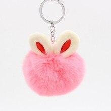 цена 2018 Fur Pom Pom Keychains Fake Rabbit fur ball key chain porte clef pompom de fourrure fluffy Bag Charms bunny keychain Keyring онлайн в 2017 году