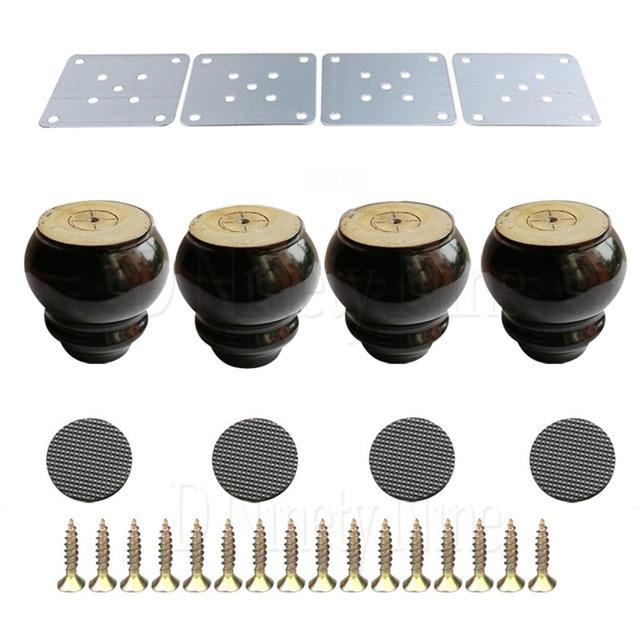 10x6x4cm White&Black Wood Gourd-shaped Furniture Table Sofa Desk Legs Feet Pack Of 4