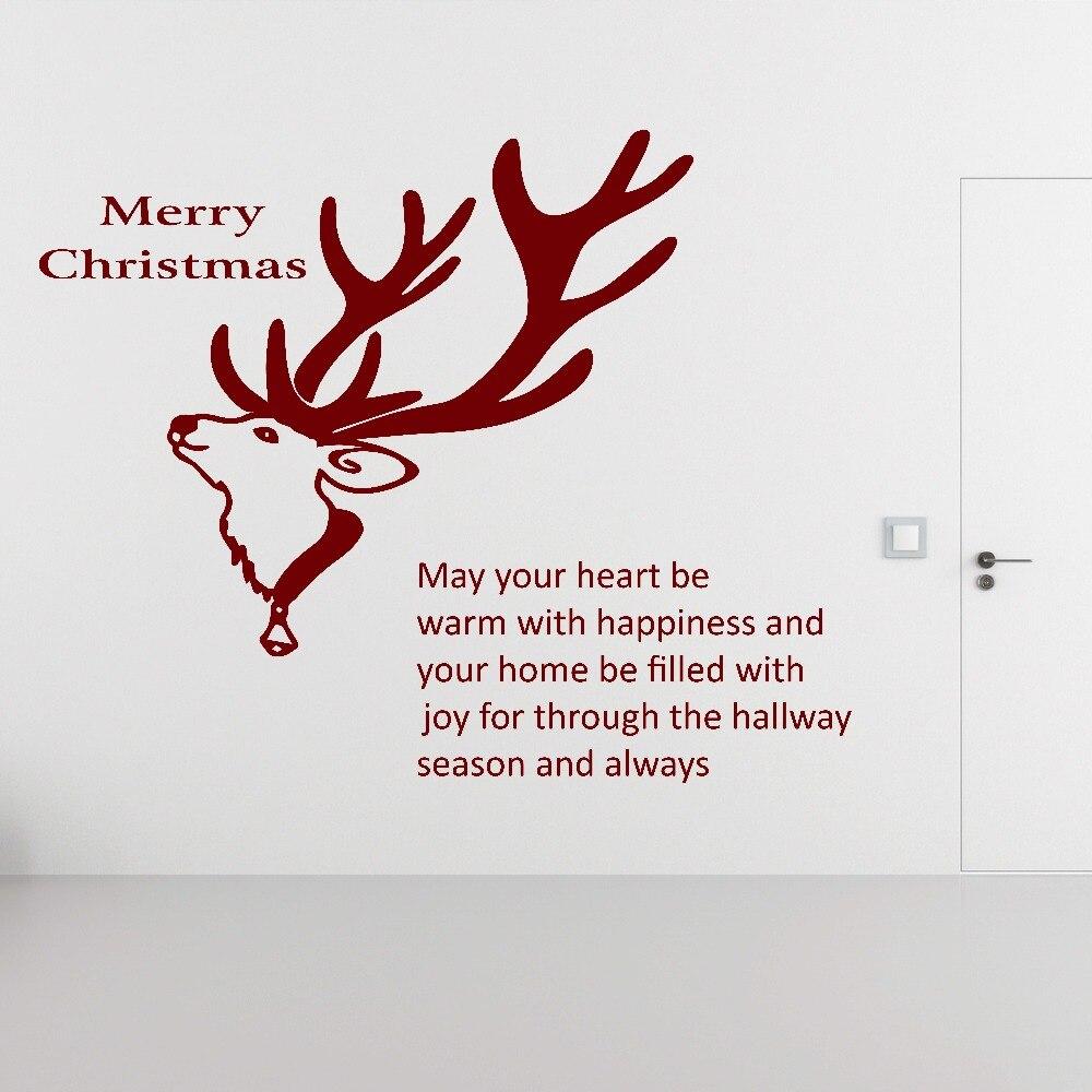 Astounding Hirsch Wandtattoo Dekoration Von Weihnachten Zitat Frohe Weihnachten Tier Wandbild Home