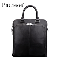 Padieoe Men S Genuine Cowhide Leather Business Handbag Luxury Design Male Shoulder Bag Top Quality Durable