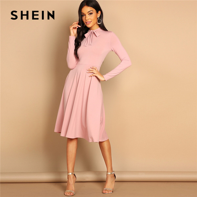 27f7dedf39 SHEIN Pink Bow Tie Neck Solid Flowy Slim Fit Dress Elegant Office Lady  Turtleneck Knee Length Long Sleeve Spring Women Dresses