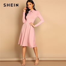 SHEIN Pink Bow Tie Neck Solid Flowy Slim Fit Dress Elegant Office Lady Turtleneck Knee Length Long Sleeve Spring Women Dresses