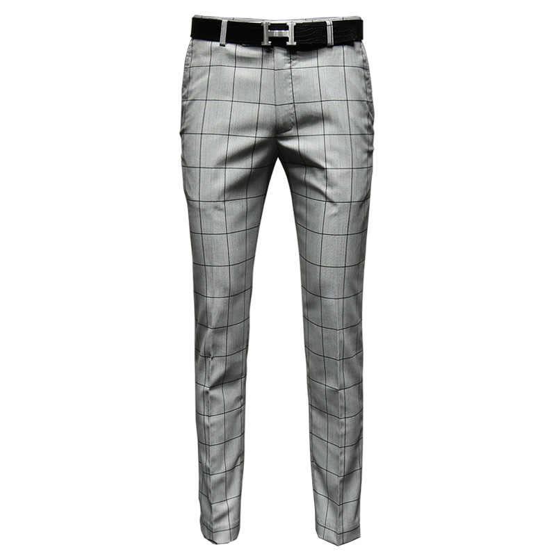 Pantalones De Vestir Para Hombre Pantalon Largo Informal Ajustado A Cuadros Color Gris Claro Estilo Coreano Para Primavera Recien Llegados Ropa De Negocios Para Novio Y Boda Pantalones De Traje Aliexpress