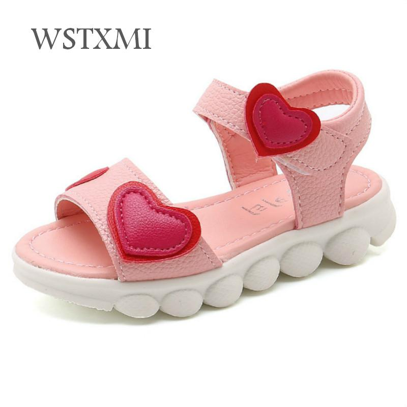 Kids Sandals For Girls 2019 New Children Summer Shoes Fashion Love Heart PU Leather White Girls Casual Open Toe Princess Sandals
