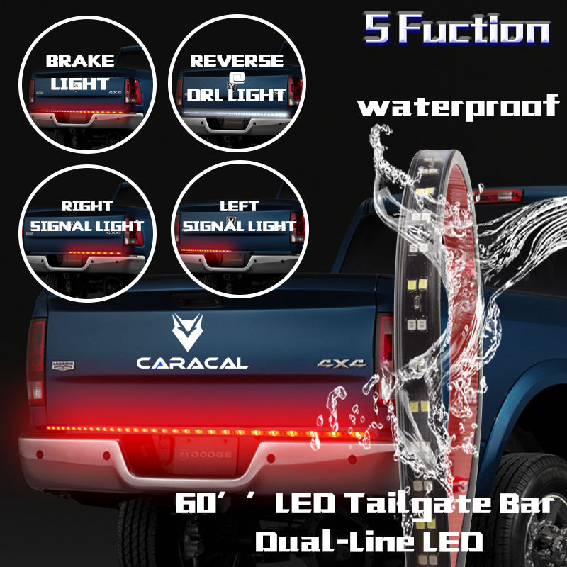 60'' Double Row LED Truck Tailgate Light Bar Strip Red/White Reverse Stop Turn Signal Running for SUV RV Trailer keyecu 60 tailgate led strip light bar truck reverse brake turn signal tail red white
