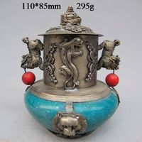 Tibetan Silver Buddha Statues Carved Incense Burner NR Garden Decoration 100% real Tibetan Silver Brass
