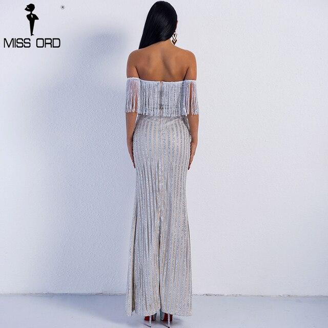 Missord 2019 Sexy Elegant V Neck Off Shoulder  Tassel Glitter High Split  Maxi Dress FT8950 3
