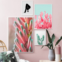 Pink Cactus Cookies Figure Painting Wall Art Canvas Nordic Posters And Prints Plant Pictures For Living Room Decor