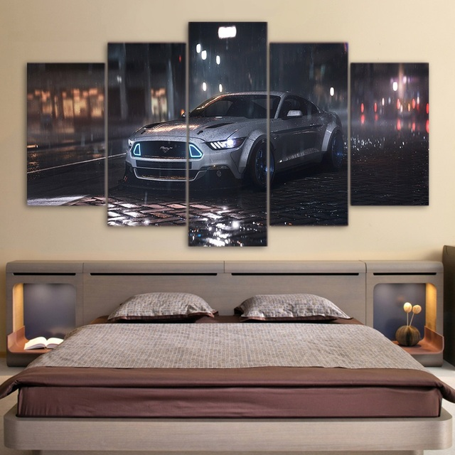 5 Piece Canvas Art Ford Mustang Car HD Printed Wall Art Home Decor Canvas  Modular Painting