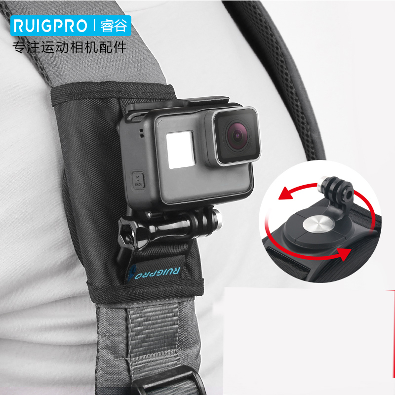 2 Hero Xiaomi Yi Cameras Max 1 4 5 Fusion 7 Wealpe Backpack Clip Mount Strap Mount Compatible with GoPro Hero 8 3 Session 6 2018 3+