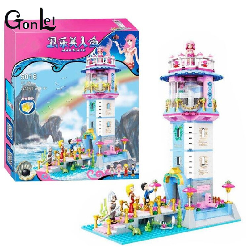 (GonLeI) Friends princess castle Mermaid Princess Lighthouse Building Blocks Girl Friends Kids Toys Compatible with bela