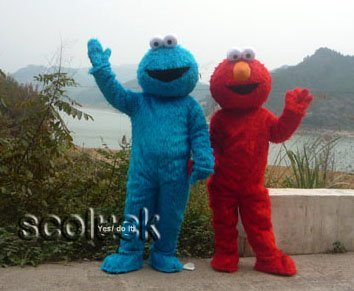 2016 Newly Pair Sesame Street Elmo && Cookie Cartoon Mascot Costume Free shipping