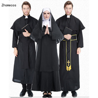 Adult Black Priest Long Robe With Cape Suit Costumes Cosplay For Man Abbe Halloween Easter Party Cosplay