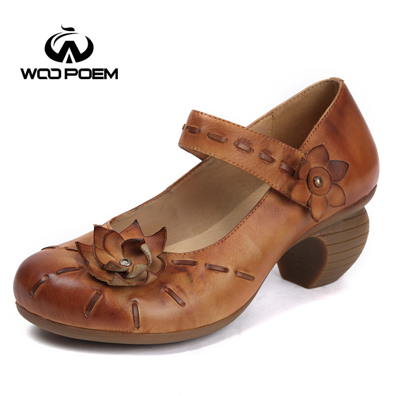 WooPoem Spring Shoes Woman Genuine Leather Mary Janes Pumps High Heels Shoes Classic Retro Cow Leather Women Shoes K168-35 247 classic leather