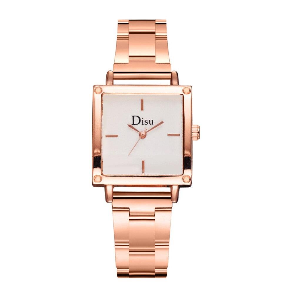 DISU High End Luxury Brand Women WristWatch Fashion  Metal Steel Strip Square Dial Quality Ladies Watch Clock Zegarek Damski #A
