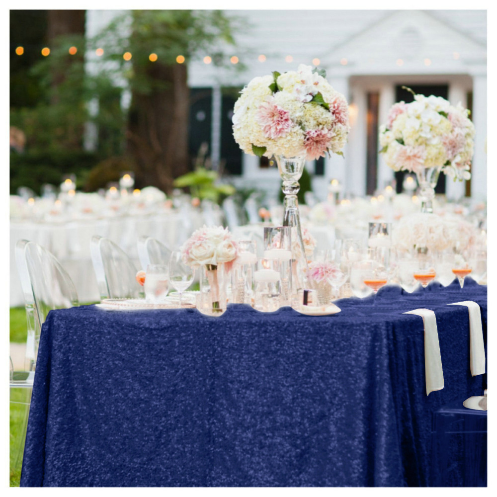 High End 50x72in Navy Blue Sequin Cloth Table Linen Sparkly Cover For Party Decoration Wedding Ay In Tablecloths From Home Garden On