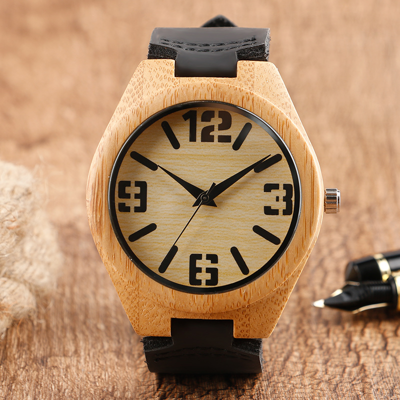 Fashon Mens Wood Watch Light Classical Hand-made Nature Bamboo Wooden Wristwatches Genuine Leather Band for Men Women Gift