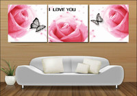 3 Piece Frameless Large Pink Roses Flowers DIY Painting By Numbers Canvas Oil Painting Wall Picture