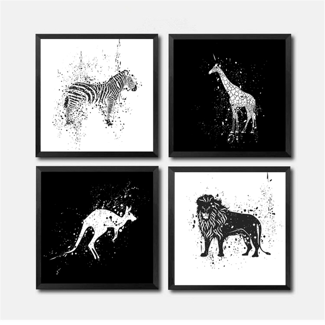 Modern Creative Personality Cartoon Black White Abstract Paintings Animals Picture Art Wall Painting Poster Print HD2335