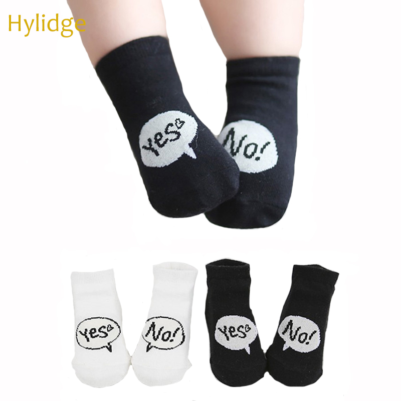 Hylidge Yes/No Print White Black Baby Girl Boy Socks Anti Slip Soft Cotton Kids Girl Ankle Socks For Newborn To 4 Years 1 Pair
