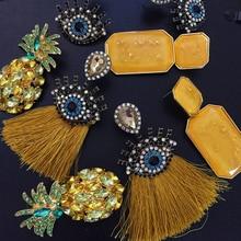 Bestessy Handmade Yellow Color Big Statement Earrings Women Long Dangle Drop Wedding Bridal Party Jewelry