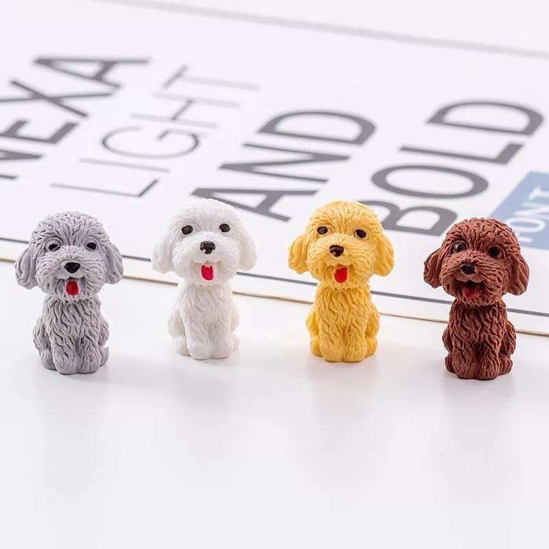 4 Pcs/lot Cute Teddy Dog Eraser Cartoon Animals Pet Rubber Eraser Kawaii Stationery School Supplies Papelaria Kids Gifts