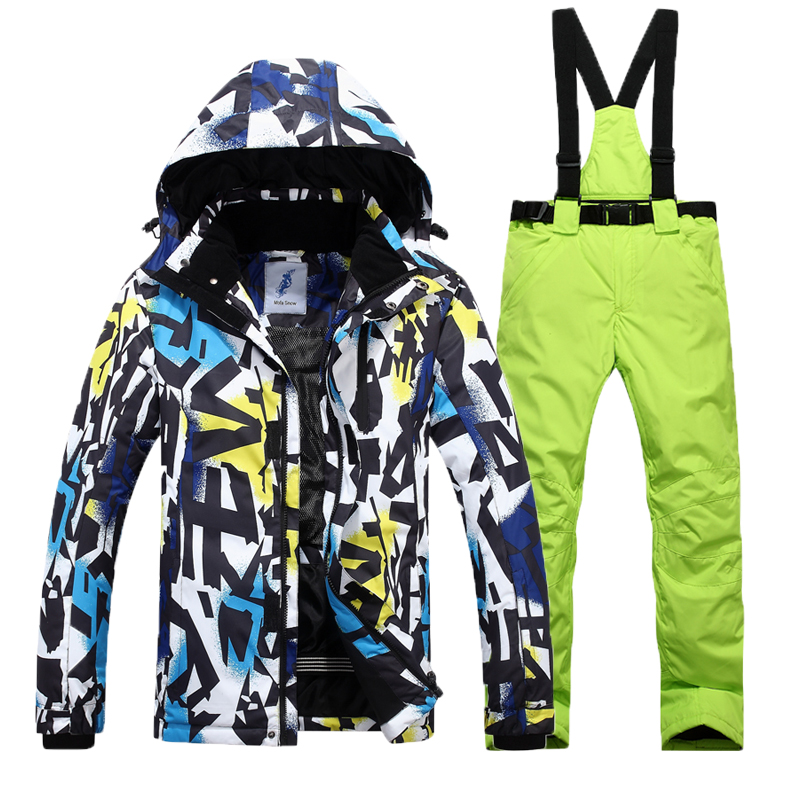 цена на Free Shipping 2018 Winter New Men Ski Suit Set Hooded Ski Jacket Windproof Waterproof Outdoor Mountaineering Ski Jacket Men