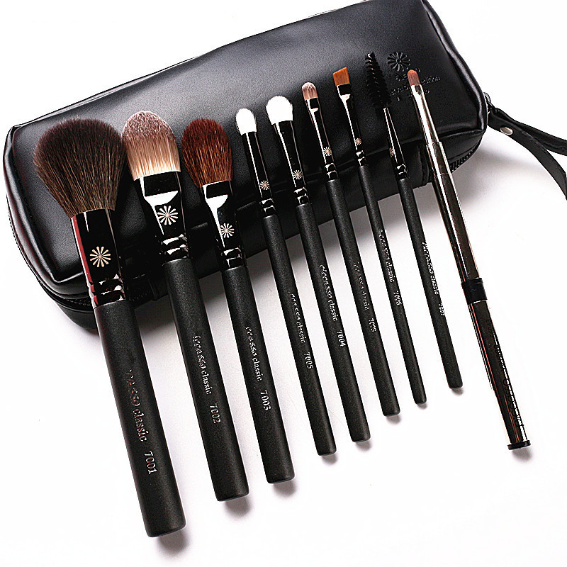 High End Korean Style 9Pcs/Set Makeup Brushes Professional Pearly Handle Goat Hair Make Up Brush Kit With Leather Case Gift