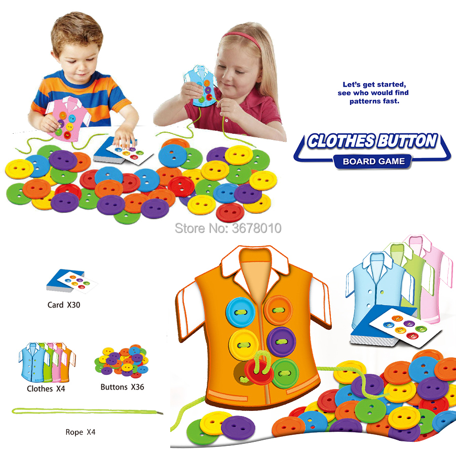 Button threading Puzzle Board Game Clothes Buttons lacing Toy wearing rope threading Montessori Sensory Early Educational