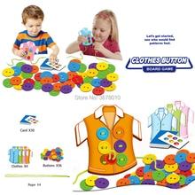 Кнопка threading головоломка настольная игра, одежда кнопки игрушка, обучающая завязывать шнурки, носить веревку threading Монтессори сенсорные Ранние развивающие игрушки