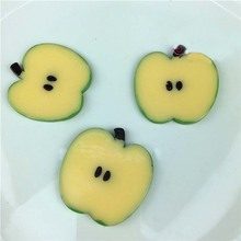 red apple slice. simulation yellow green red apple cutting slice fruit diy toy food play house children\u0027s kitchen decorate teaching aid t