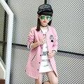 2017 модные девушки Бейсбол Куртка девушки длинные пальто хлопка детей пальто девушки спортивные куртки и пиджаки