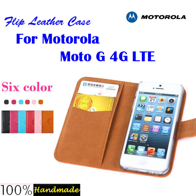 """Flip leather case cover for Motorola Moto G 4G LTE XT1039 XT1040 XT1032 XT1033 4.5"""" phone case with card slots 6 colors in stock"""