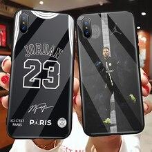 6068eb24136 Paris Football Jersey Jordan23 Neymar Sport Print Black silicone toughened glass  case phone cover for iPhone