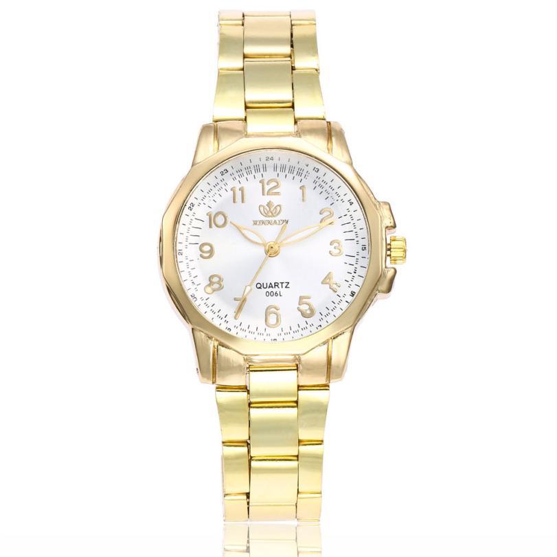 2018 Hot sale Ladies Watch Women Fashion Stainless Steel Band Analog Quartz Watch Round Wrist Watch Watches 30p