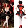 Nueva llegada del traje de halloween sexy queen of hearts costume plus size costume mujeres fancy dress sexy traje