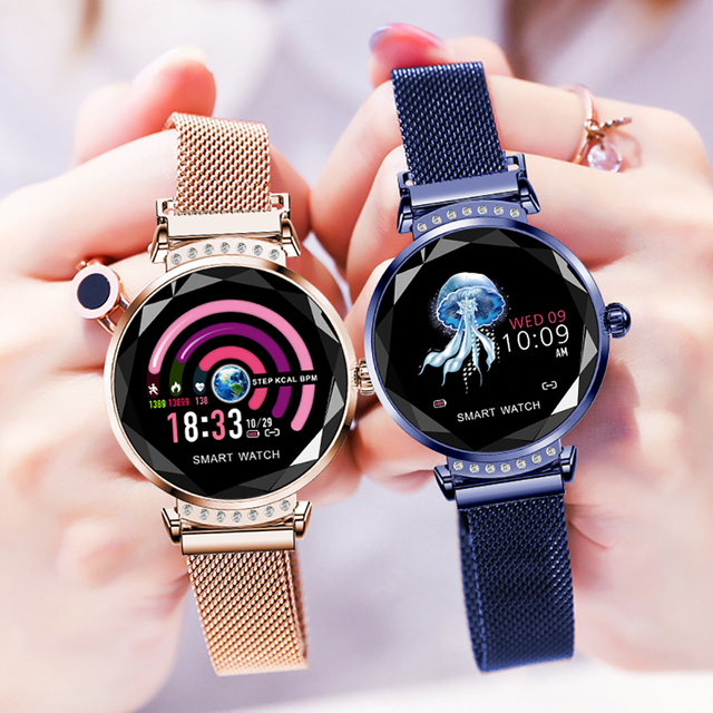 Rundoing H2 Smart watch Waterproof Women ladies fashion Smartwatch Heart rate monitor Fitness Tracker For android and IOS