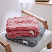 Fashion Summer Blankets For Beds Japan Style 100% Cotton Yarn Knitted Quilt Single Double Queen Red Blue Towel