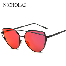 Cat eye Women Sunglasses Women Brand Design Mirror Flat Rose Gold Vintage Cateye Sun glasses For Women lady Eyewear
