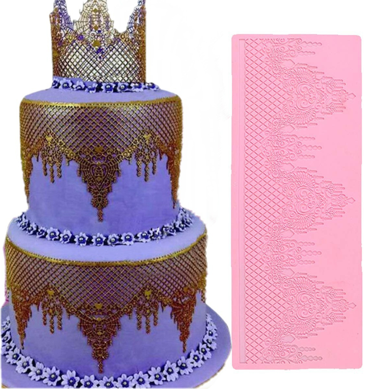 Image 5 - Aomily Lace Jewellery Wedding Cake Silicone Beautiful Lace Fondant Mold Mousse Sugar Craft Icing Mat Pad Pastry Baking Pad Tool-in Cake Molds from Home & Garden