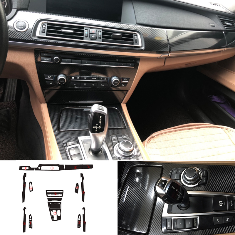 Car-Styling New 5D Carbon Fiber Car Interior Center Console Color Change Molding Sticker Decals For BMW 7 Series F01 F02 F03 F04