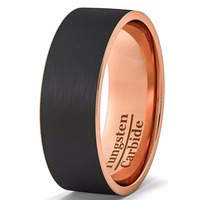 8mm banda de boda para hombre negro tungsteno anillo oro rosa cepillado borde plano Comfort fit tamaño 6.5 a 12.5