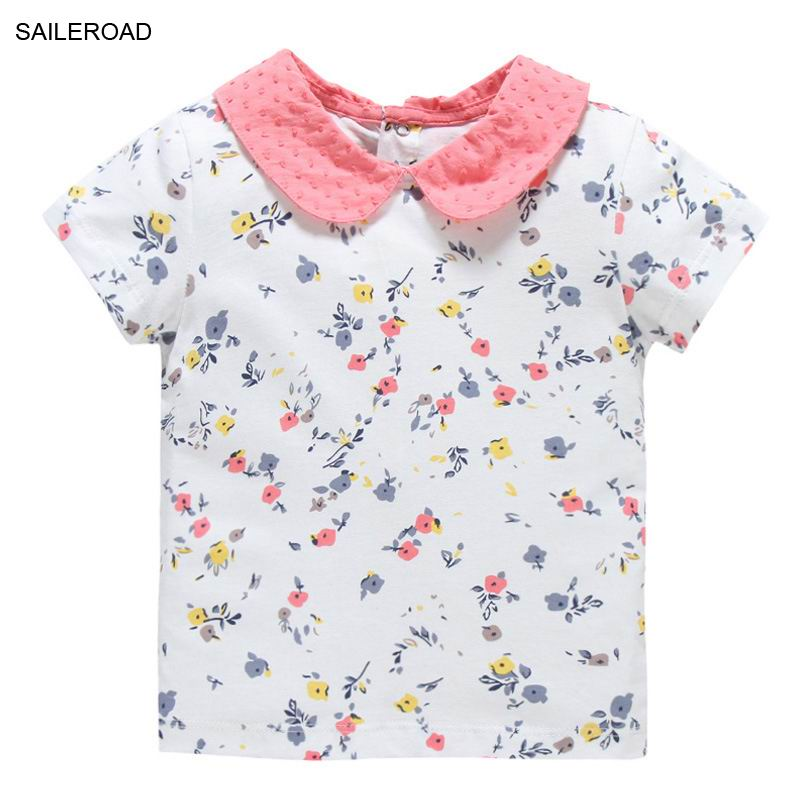 SAILEROAD Floral Print Baby Girls Tops Tees T Shirt Summer Toddler Cute Girls Shorts Clothing Turn-down Collar 100% Cotton TeesSAILEROAD Floral Print Baby Girls Tops Tees T Shirt Summer Toddler Cute Girls Shorts Clothing Turn-down Collar 100% Cotton Tees